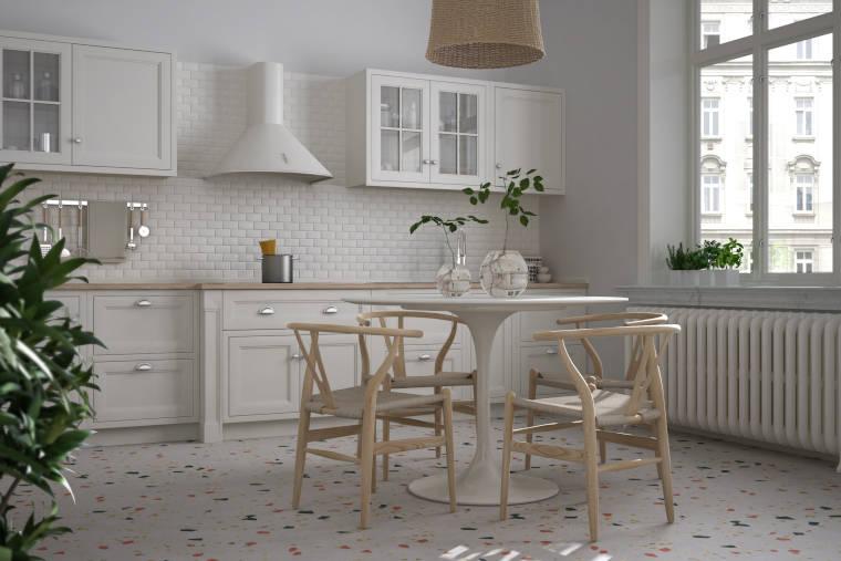 Küche mit Terrazzoboden - Firma Riedl Natursteine in Künzing